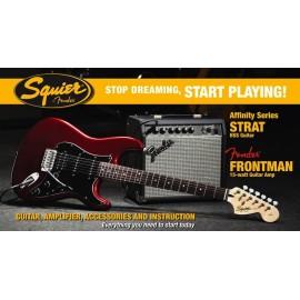 SQUIER PACK STRAT HSS CAR 15G електрическа китара с комбо усилвател и аксесоари